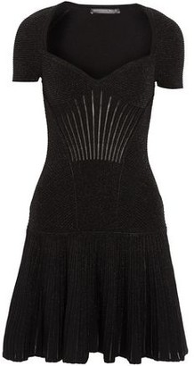Alexander McQueen Fluted Metallic Ribbed Wool-Blend Mini Dress