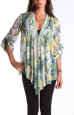 Elizabeth and James Tokyo Top in Sheer Floral