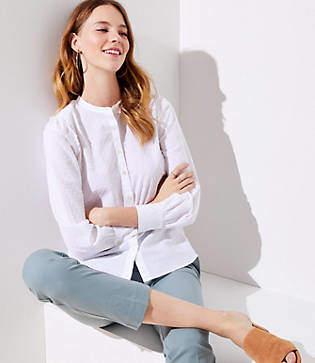 LOFT Petite Dotted Ruffle Shoulder Shirt