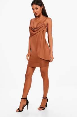 boohoo Strappy Drape Bodycon Dress