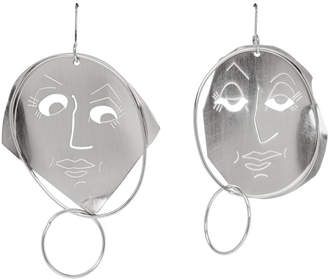 J.W.Anderson Silver Moon Face Earrings