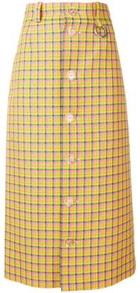 checked buttoned skirt
