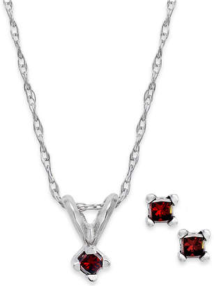 Macy's 10k White Gold Red Diamond Necklace and Earrings Set (1/10 ct. t.w.)