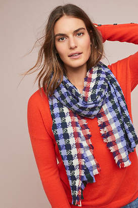 Epice Fringed Gingham Wool Scarf