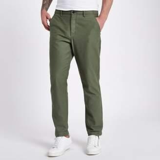 River Island Mens Khaki slim fit tapered chino pants