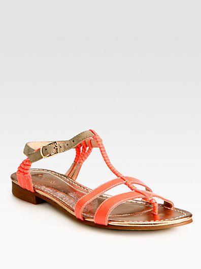 Opening Ceremony Cabana Patent Leather & Suede T-Strap Sandals
