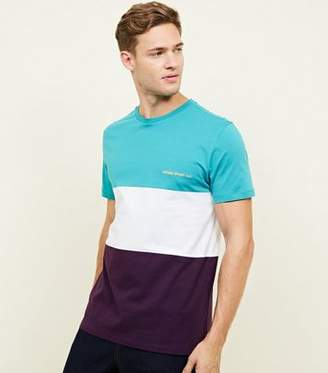 New Look Teal Colour Block Homme Sport Embroidered T-Shirt