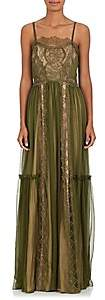 Alberta Ferretti Women's Silk Chiffon & Lace Gown - Green