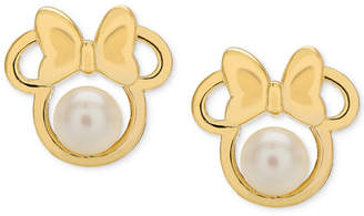 Disney (ディズニー) - Disney Children's Cultured Freshwater Pearl (4mm) Minnie Mouse Stud Earrings in 14k Gold