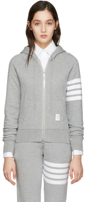Thom Browne Grey Classic Four Bar Hoodie $690 thestylecure.com
