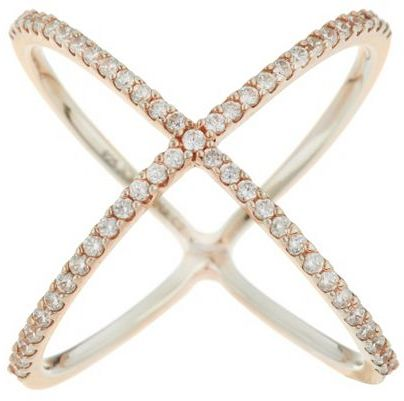 Ships 12/1/14 Diamonique 4/10cttw Pave' X-Design Ring Stlg or 18KClad