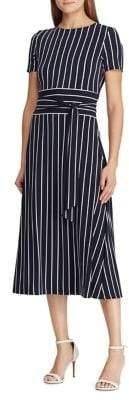Lauren Ralph Lauren Belted Striped Jersey Dress