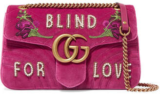 Gucci Gg Marmont Medium Embellished Quilted Velvet And Leather Shoulder Bag - Pink