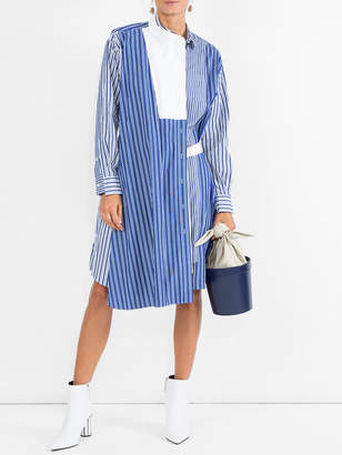 Sacai Striped shirting belted wrap dress