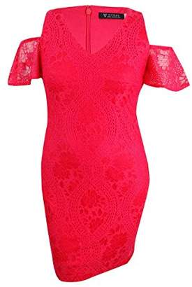 GUESS Women's Cold Shoulder Lace Body Con Dress