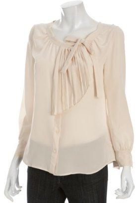 Miu opaline silk pleated bow detail blouse