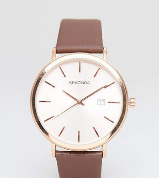 Sekonda Leather Watch In Brown Exclusive To ASOS 42mm