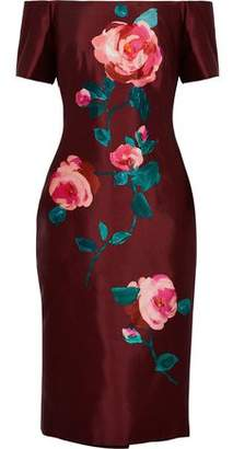 Lela Rose Off-The-Shoulder Floral-Print Wool And Silk-Blend Taffeta Dress