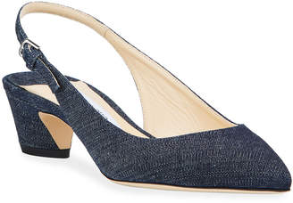 Jimmy Choo Gemma Low-Heel Denim Slingback Pumps