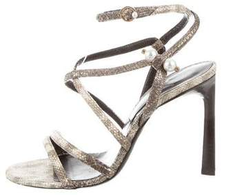 Lanvin Embossed High-Heel Sandals