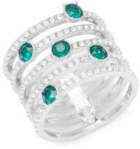 Swarovski Emerald and Crystal Midi Ring