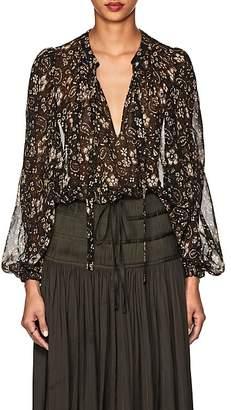 Ulla Johnson Women's Carmine Floral & Paisley Silk Tieneck Blouse