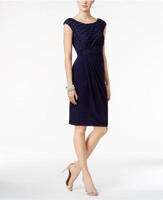 Connected Glitter Stripe Faux-Wrap Dress $79 thestylecure.com