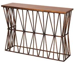 Generic Twisted Ribbon - Iron Console with Wood Top - Antique Bronze