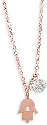 Meira T Women's Diamond and 14K Rose Gold Hand Pendant Necklace, 0.14 TCW