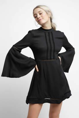 BB Dakota Bell Sleeve Lace Inset Mock Neck Dress