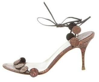 Alexandra Neel Lizard Wrap-Around Sandals