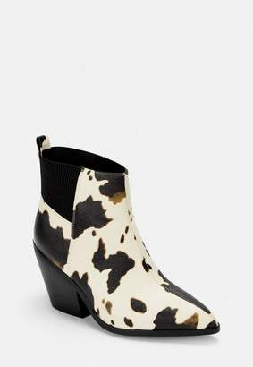 Missguided Brown Cow Print Chelsea Ankle Boots