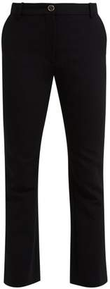 Valentino Mid Rise Wool Blend Flared Trousers - Womens - Black