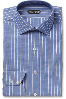 Tom Ford Blue Slim-Fit Striped Cotton-Poplin Shirt - Blue