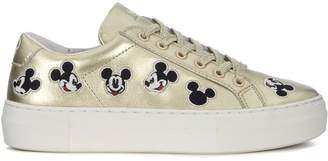 Moa Mickey Mouse Gold Leather Sneakers
