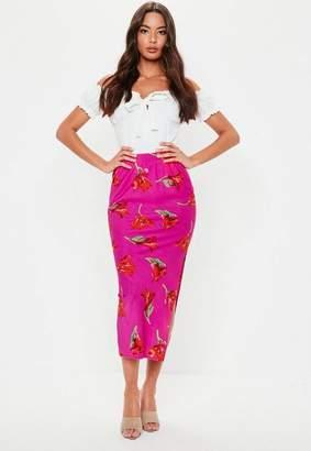 Missguided Pink Floral Print Slip Skirt