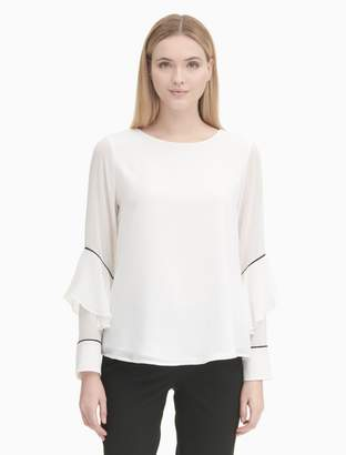Calvin Klein piped pleated long sleeve blouse