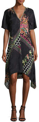 Etro Mixed-Print Short-Sleeve Silk Dress, Black