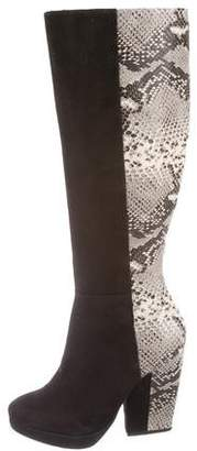 Pour La Victoire Embossed Pointed-Toe Boots