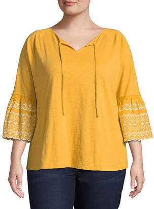 ST. JOHN'S BAY 3/4 Embroidered Bell Sleeve Peasant Blouse - Plus