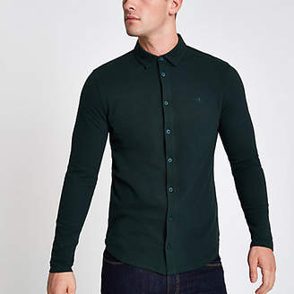 River Island Dark green muscle fit long sleeve shirt