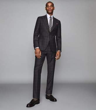 Reiss STRIKE WOOL CHECKED SLIM FIT SUIT Charcoal