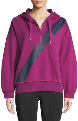 adidas by Stella McCartney Yoga Comfort Striped Quarter-Zip Hoodie