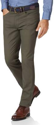 Charles Tyrwhitt Olive Slim Fit 5 Pocket Bedford Corduroy Cotton Tailored Pants Size W30 L32