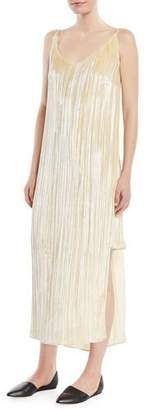 Rosetta Getty V-Neck Sleeveless Slit-Sides Distressed Velvet Slip Cocktail Dress