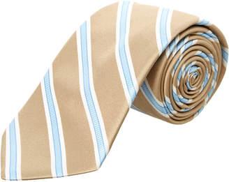 Ike Behar Taupe Royal Oak Stripe Silk Tie