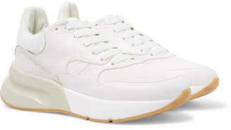 Alexander McQueen Exaggerated-Sole Suede-Trimmed Leather and Mesh Sneakers - White