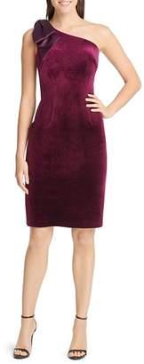 Eliza J Velvet Bow-Shoulder Sheath Dress