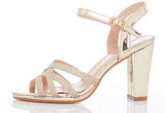Quiz Gold Shimmer Strap Heel Sandals