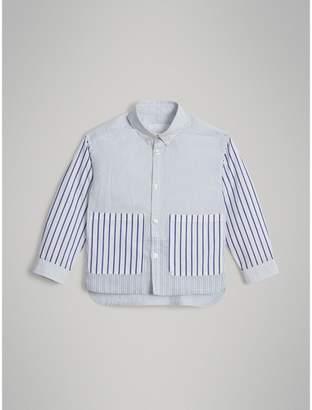 Burberry Contrast Stripe Cotton Shirt